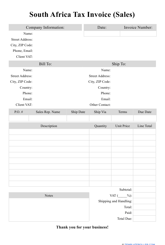 """""""Sales Tax Invoice Template"""" - South Africa Download Pdf"""