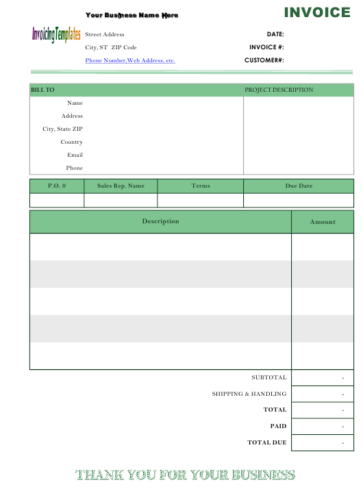 Basic Service Billing Format Invoice Template Download Printable Pdf