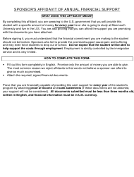 Affidavit of Annual Financial Support Form