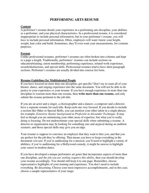 performing arts resume download printable pdf templateroller