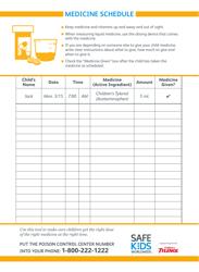"""""""Child's Medicine Schedule Template - Safe Kids Worldwide"""""""