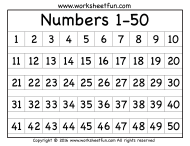1-50 Number Chart
