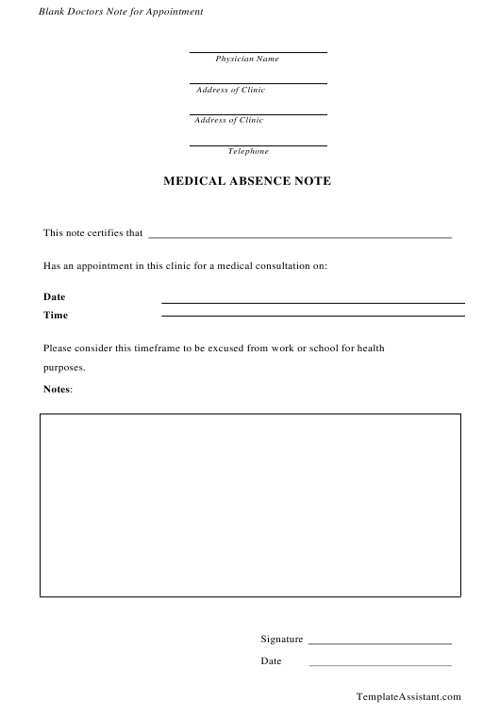 """Medical Absence Note Form"" Download Pdf"
