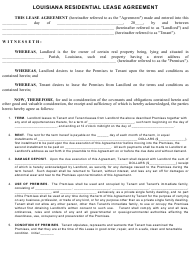 Residential Lease Agreement Template - Louisiana