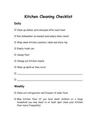 """Kitchen Cleaning Checklist Template"""