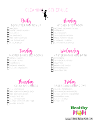 Weekly Cleaning Checklist - Healthy Mom