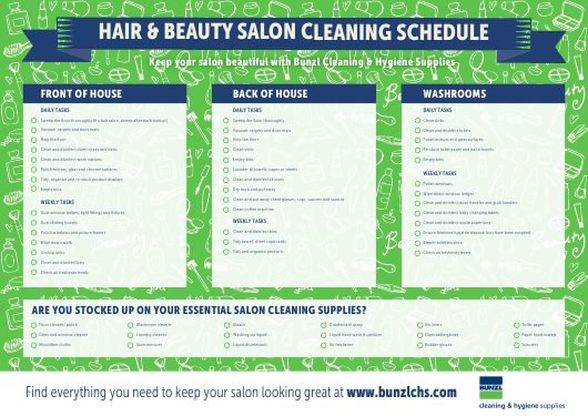 Hair & Beauty Salon Cleaning Schedule Template Download Pdf