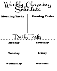 Weekly Cleaning Schedule Template With Daily Tasks
