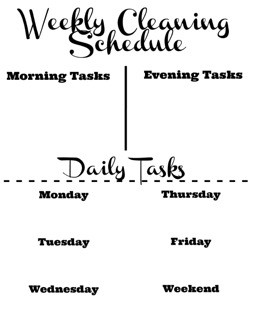 """""""Weekly Cleaning Schedule Template With Daily Tasks"""" Download Pdf"""