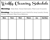 """Black&white Weekly Cleaning Schedule Template"""