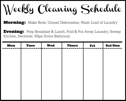 Black&white Weekly Cleaning Schedule Template Download Pdf