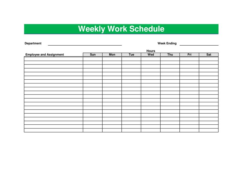 """Green Weekly Work Schedule Template"" Download Pdf"