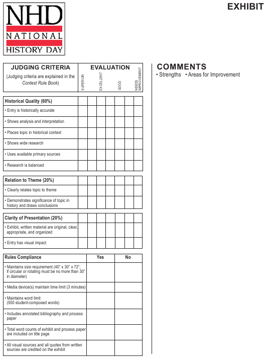 """""""Evaluation Template - National History Day"""" Download Pdf"""