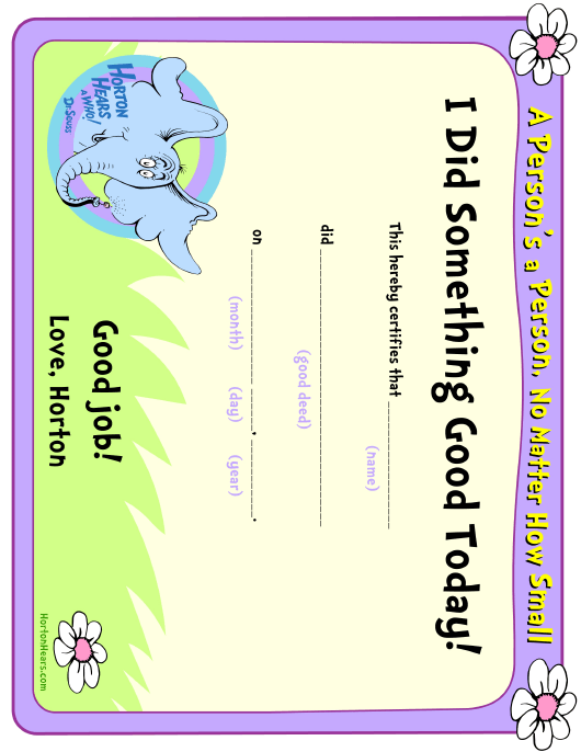 """I Did Something Good Today Certificate Template"" Download Pdf"