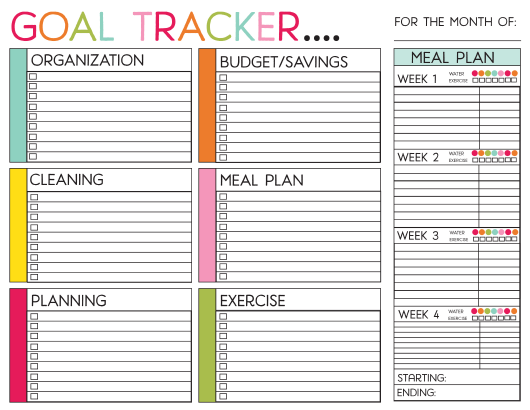 goal tracker chart template download printable pdf templateroller