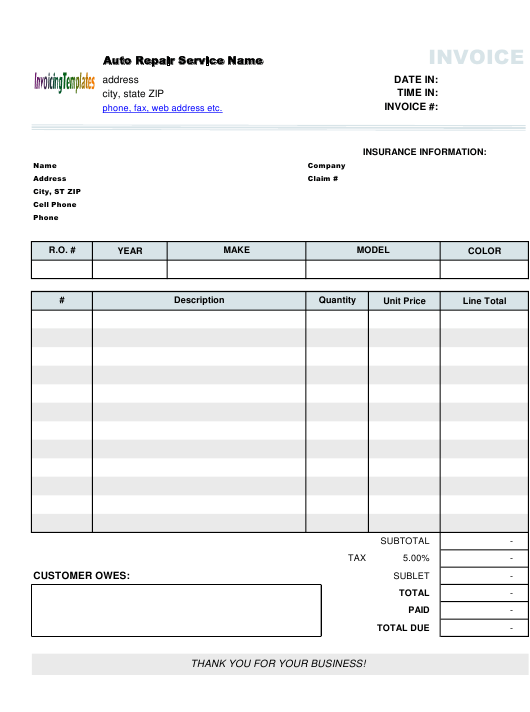 """Auto Repair Service Invoice Template"" Download Pdf"