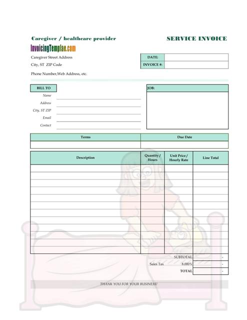 """Caregiver Service Invoice Template"" Download Pdf"