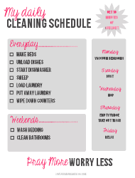 Personal Daily Cleaning Schedule Template