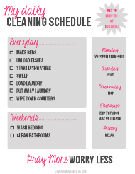 """Personal Daily Cleaning Schedule Template"""