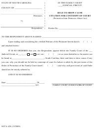 "Form SCCA428 ""Rule to Show Cause Citation for Contempt of Court (Protection From Domestic Abuse Act)"" - South Carolina"