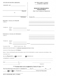 Form SCCA 400.08 SRL-DIV Request for Hearing for Divorce (One Year Continuous Separation) - South Carolina
