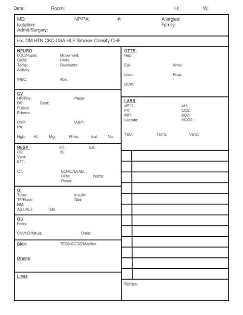 """""""Nursing Report Sheet Template"""" Download Pdf"""