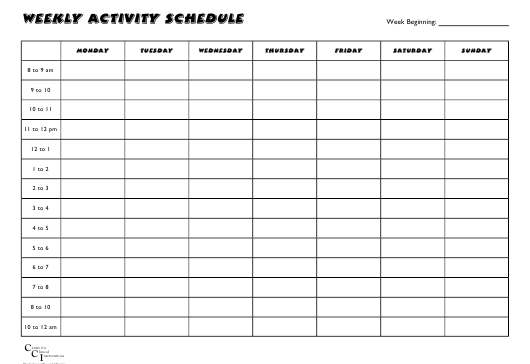 """Weekly Activity Schedule"" - Western Australia, Australia Download Pdf"