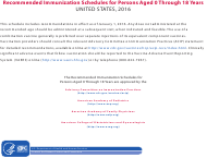 """""""Recommended Immunization Schedules for Persons Aged 0 Through 18 Years"""", 2016"""