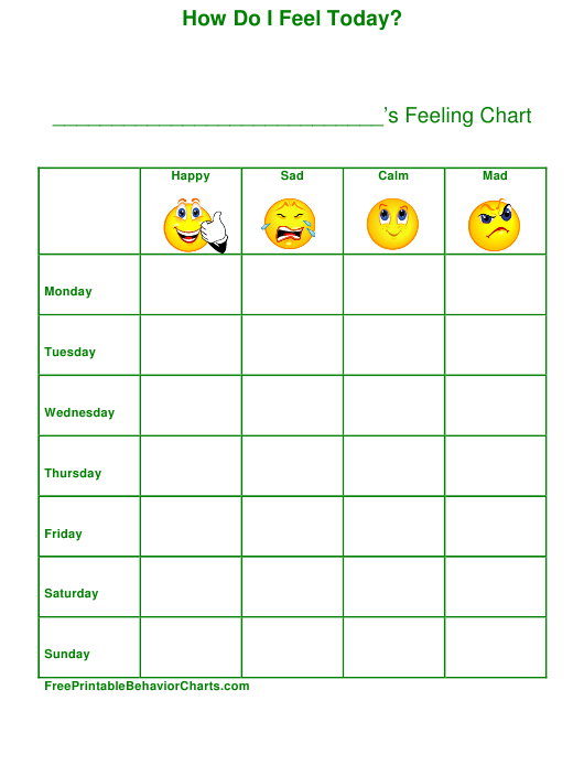 """""""Weekly Feeling Chart Template"""" Download Pdf"""