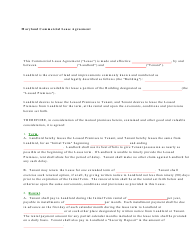 """Commercial Lease Agreement Template"" - Maryland"