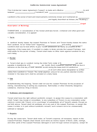 Commercial Lease Agreement Template - California