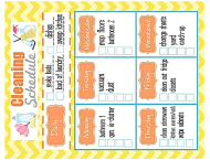 """8x10 Inches Weekly Cleaning Schedule Template"""