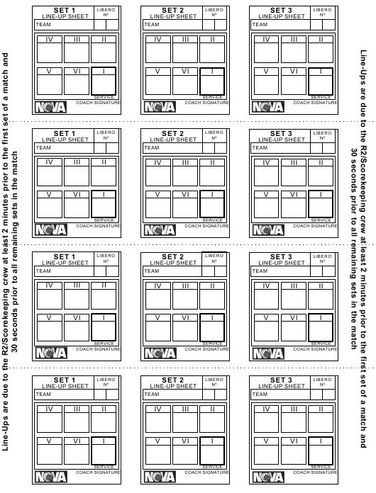 graphic about Printable Volleyball Score Sheet called Volleyball Lineup Sheet - Nova Down load Printable PDF