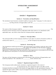 """Limited Liability Company Operating Agreement Template"""