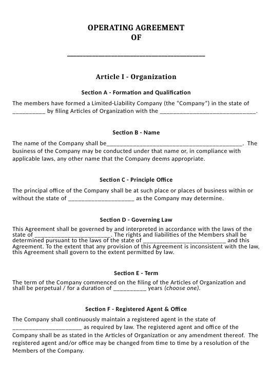 """""""Limited Liability Company Operating Agreement Template"""" Download Pdf"""