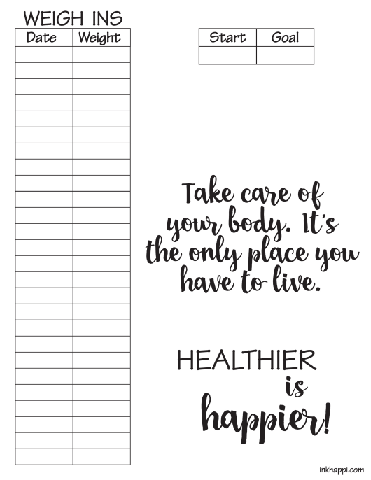 """""""Weight Tracking Chart Template"""" Download Pdf"""
