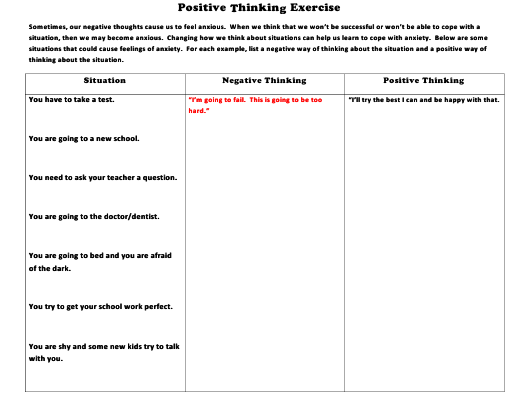 """""""Positive Thinking Exercise Template"""" Download Pdf"""