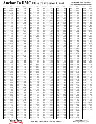 Anchor To Dmc Floss Conversion Chart - Iowa