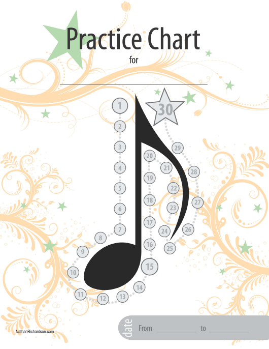 """""""30 Days Music Practice Chart Template"""" Download Pdf"""