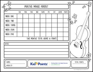 """Violin Practice Chart Template - Kidpointz"""