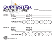 """Superstar 2-week Music Practice Chart Template"""