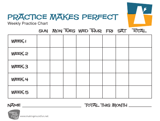 """""""Practice Makes Perfect Weekly Music Practice Chart Template"""" Download Pdf"""