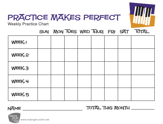 """""""Weekly Piano Practice Chart Template - Practice Makes Perfect"""" Download Pdf"""