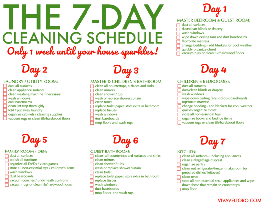"""Weekly House Cleaning Schedule Template"" Download Pdf"
