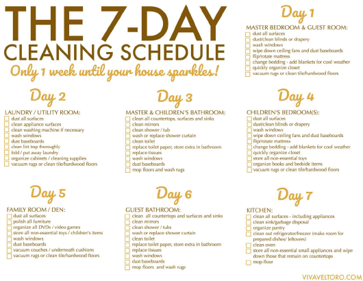 """""""Weekly House Cleaning Schedule Template"""" Download Pdf"""