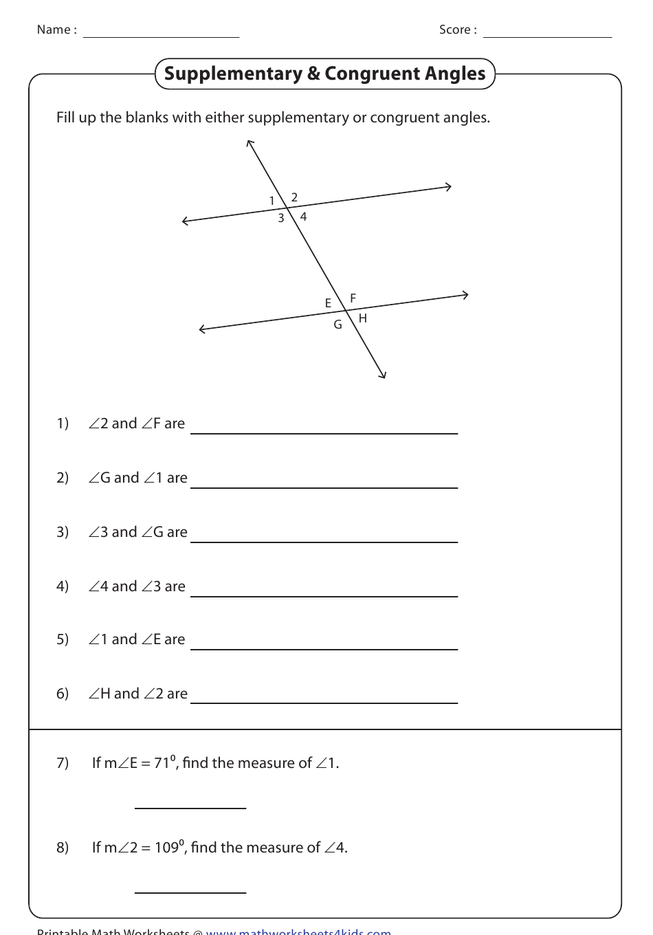 Supplementary & Congruent Angles Worksheet With Answer Key ...