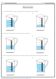 """Measuring Jug Addition and Subtraction Worksheet With Answer Key"""