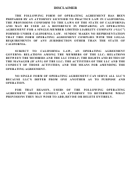 """Operating Agreement Template (Single Member Limited Liability Company)"" - California"