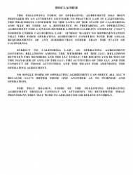 """""""Operating Agreement Template (Single Member Limited Liability Company)"""" - California"""