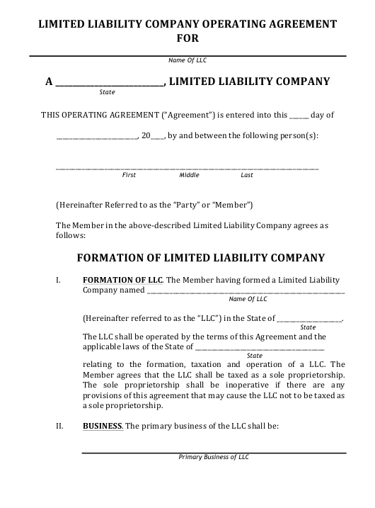 """Limited Liability Company Operating Agreement Template"" Download Pdf"